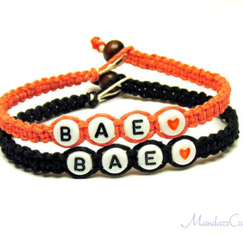 Bae Bracelets, Set of Two for Couples or Best Friends, Coral and Black Hemp Jewelry