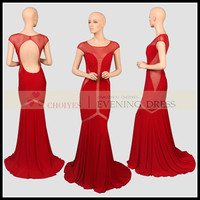 ER62978 red backless cap sleeve see-through jersey prom dress, View jersey low cut gown, Choiyes Prom Dress Product Details from Chaozhou Choiyes Evening Dress Co., Ltd. on Alibaba.com