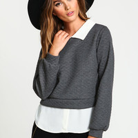 COLLAR QUILTED BLOUSE