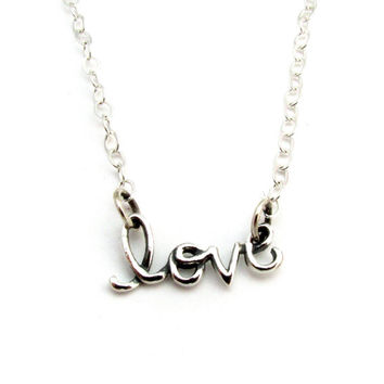 """Cursive """"LOVE"""" Word Necklace in Sterling Silver on 16, 18, 20 Inch Cable Chain, Word Jewelry, Anniversary or Wedding Gift,  Celebrity Style"""