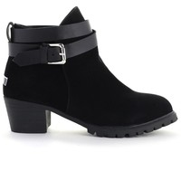 Strapped Faux Suede Ankle Boots in Black