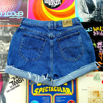 High Waisted Denim Shorts - Vintage 90s Dark Stone Washed Blue Jean Shorts - Frayed, Cuffed, Rolled Up LEE Shorts Size 12 Large L