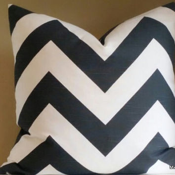 Charcoal grey and white wide chevron pillow cover