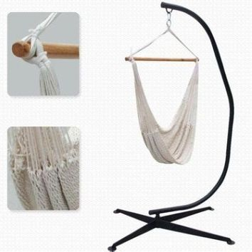 NEW Home Outdoor Cotton Rope Hammock Chair w Heavy Duty C-Frame Chair Stand