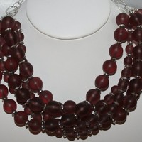 Plum Frosted Beach Glass Tibetan Silver 5 Strand Big Statement Necklace