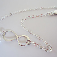Infinity Sterling Silver Bracelet and Accent Pearl-Infinity Jewelry-Bridesmaids Jewelry-Friendship Bracelet-Modern Jewelry