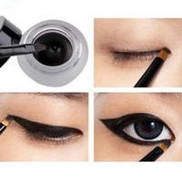 New Waterproof Eye Liner Eyeliner Shadow Gel Makeup Cosmetic + Brush Black