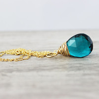 Teal Gemstone Necklace, Gold Fill Necklace, Wire Wrap Necklace, Turquoise Blue, Large Pendant, Bright Blue Necklace, Quartz Necklace