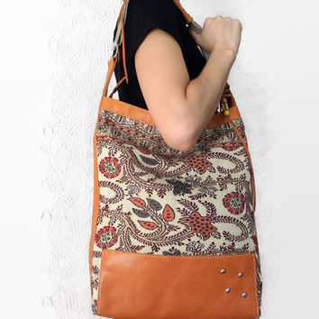 Leather Carpet Bag/ Hobo/ Ethnic/ Handmade