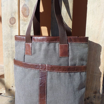 Canvas Leather Tote/ Handbag/ Purse/ Handmade