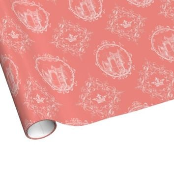 Fairy Tale Castle Crown Coral Wrapping Paper