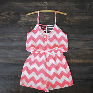 chevron romper | pink caged cage back playsuit sweet
