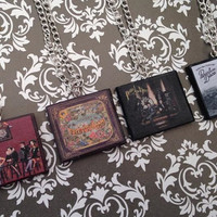 Panic! At The Disco album necklaces made from polymer clay