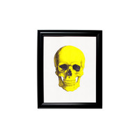 Yellow Skull Print Framed Wall Hanging