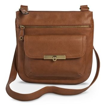 Women's Crossbody Handbag with Front Pocket - Cognac