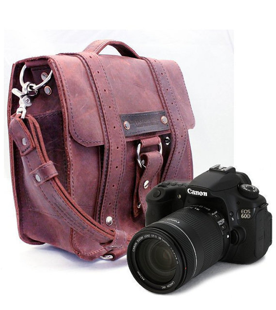 Safari Camera Bag  - Burgundy - Thick Full Grain Leather - Padded Camera Insert Divider - Padded Bottom - Made in the U.S.A.
