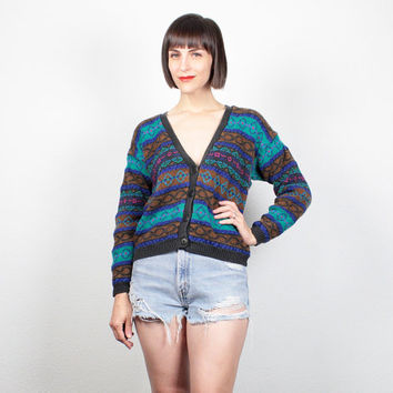 Vintage 80s Sweater V Neck Cardigan Boho Striped 1980s Sweater Cosby Sweater Teal Brown Black Pink Cropped Jumper Cozy Knit S Small M Medium