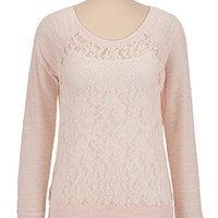 marled sleeve lace pullover top