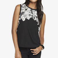 GRAPHIC MUSCLE TANK - FLORAL LACE from EXPRESS