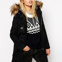 Pepe Jeans Duffle Coat With Faux Fur Trimmed Hood