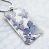Real Flower Necklace Pale Blue 01 Purple Hydrangea Resin Jewelry Transparent Pendant 925 Silver Plated