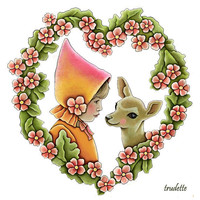 heart of pink flowers with deer and girl