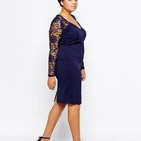 Little Mistress Lace Sleeve And Yoke Pencil Dress