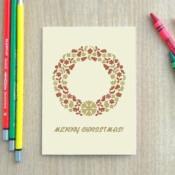 Christmas greeting card with envelope, Blank holiday card set,  Holiday cards, Vintage Christmas wreath