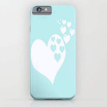 Turquoise Aqua Blue Hearts of Love iPhone & iPod Case by BeautifulHomes