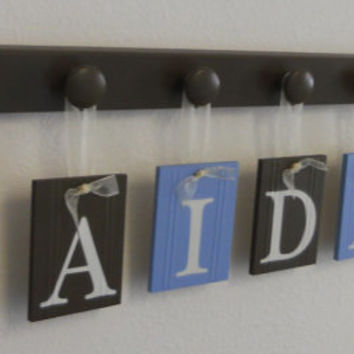 Airplane Art Nursery Baby Name Hanging Wall Letters and 7 Wooden Peg Hanger Light Blue and Brown. A Gift for AIDEN