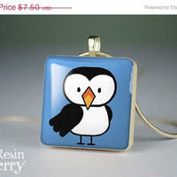 ON SALE: owl scrabble tile pendant,glass pendants,jewelry pendant,art necklace pendants- A0139SI