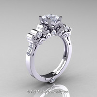 Classic Armenian 14K White Gold 1.0 Ct Princess CZ Diamond Solitaire Wedding Ring R608-14KWGDCZ