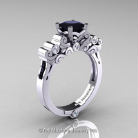 Classic Armenian 950 Platinum 1.0 Ct Princess Black and White Diamond Solitaire Wedding Ring R608-PLATDBD
