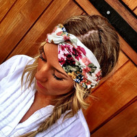 Floral Turban Headband Cream Stretchy Vintage Pattern
