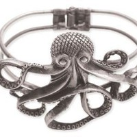 ZAD Unique Large Octopus Cuff Bracelet Antique Silver Tone