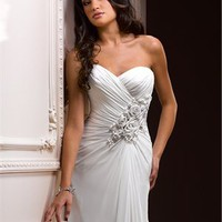 A-line strapless sweetheart organza white wedding dresses 2012 BAML0032