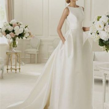 A-line short sleeves simple satin 2013 spring wedding dresses PROS00140