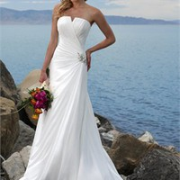 White Column Chiffon Beach Wedding Dress WDB014