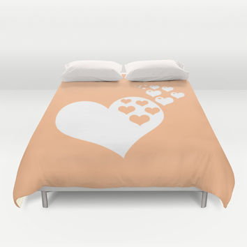 Peach Orange Hearts of Love Duvet Cover by BeautifulHomes