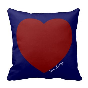 love always; navy & red hearts w white text