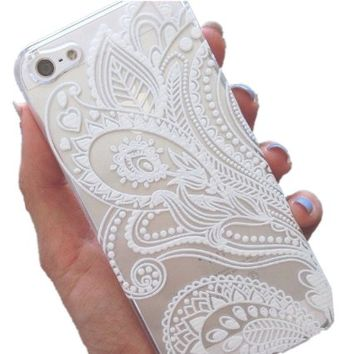 Acefast INC Plastic Case Cover for Iphone 5 5s 5c Henna White Floral Paisley Flower Mandala (For iPhone 5 5S)