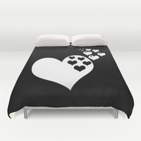 Black & White Hearts of Love Duvet Cover by BeautifulHomes