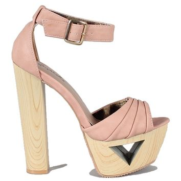 Lakie-09 Blush White Open toe Platform Sandal Wood Heels