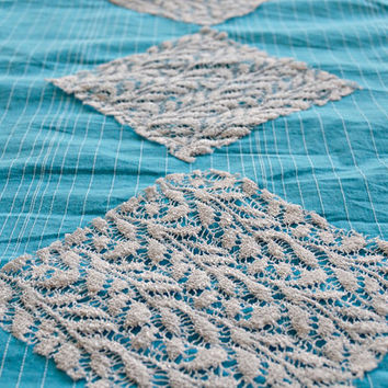 Blue Cotton Table Runner with Lace