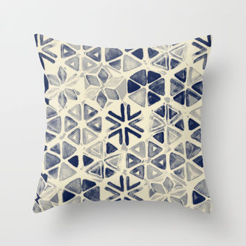 Hand Painted Triangle & Honeycomb Ink Pattern - indigo & cream Throw Pillow by micklyn