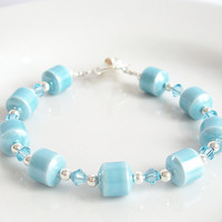 Aqua Blue Magnetic Hematite Bracelet, March Birthstone Aquamarine Bracelet
