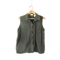 20% OFF SALE...vintage army green tank top. button up sleeveless shirt. natural minimalist. womens size L