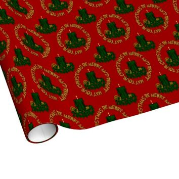 Merry and Bright Green Christmas Candle Gift Wrap