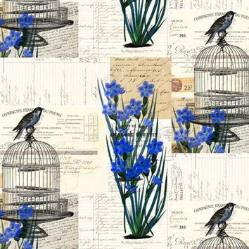 French Birdcage Blue Flowers - 13moons_design - Spoonflower