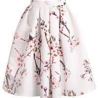 Sheinside® Women's White Floral Pleated Skirt